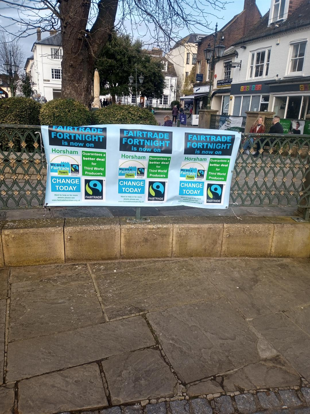 Fairtrade Fortnight posters in Horsham Carfax